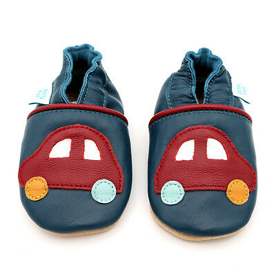 Dotty Fish Soft Leather Baby Shoes - Navy with Red Car - 0-6 Months - 3-4 Years