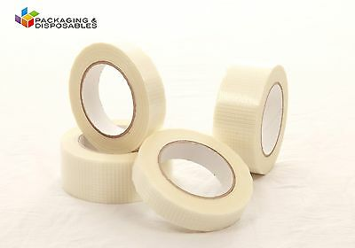 6 x ROLLS 50mm x 50m CROSSWEAVE REINFORCED PACKAGING TAPE