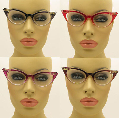 New 50's Vintage Style Clear Lens Gradient Frame Cat Eye Glasses Crystals Stones