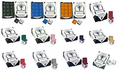 High Quality Silver Cup Snooker/Pool Cue Chalk 12 Box (many colour options)