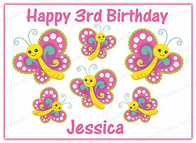 Personalised Butterflies Butterfly Edible Icing Birthday Party Cake Topper