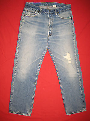 D3926 frayed holes levi's 501 blue jeans 36x33 used destructed made in the USA