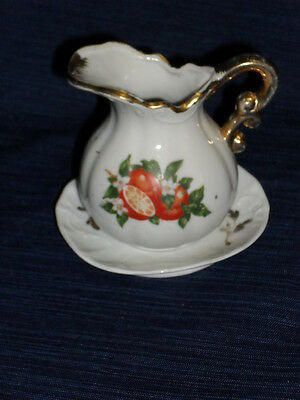 MINIATURE PITCHER & BOWL gold trimmed