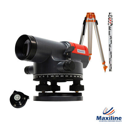 32 X Automatic Dumpy Level + Tripod and Staff + Tax Invoice Rotary Rotating Base