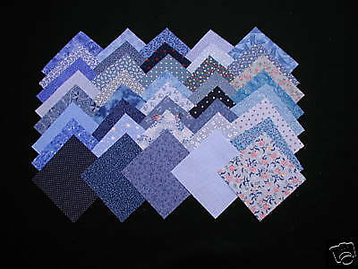 40  4-INCH CALICO FABRIC QUILT SQUARES - BLUE - 20 DIFFERENT PRINTS