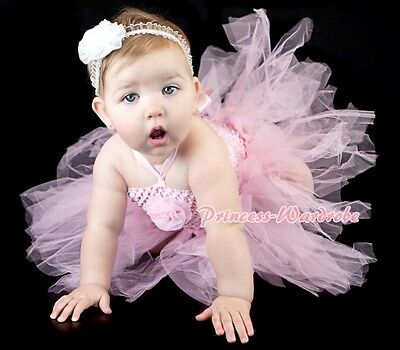 Baby HANDMADE Light Pink Knotted Tulle Tutu Pink Crochet Tube Top SET NB-24month