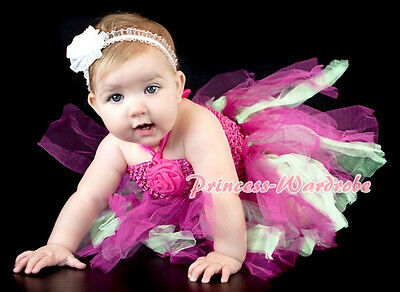 Baby HANDMADE Pink Green Knotted Tulle Tutu Hot Pink Crochet Tube Top SET NB-24m