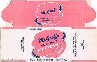 Old box McGRIFFS ICE CREAM dated 1948 Brooklyn Michigan unused n-mint condition