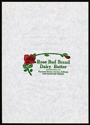 Vintage butter wrapper ROSE BUD Farmers Dairy Carlos Indiana unused n-mint+ cond
