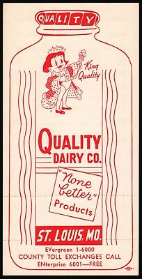 Vintage tally card QUALITY DAIRY with king pictured St Louis Missouri n-mint+