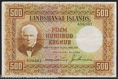 Iceland 500 Kronur P36 1928 River Rare World Currency Paper Money Bill Bank Note