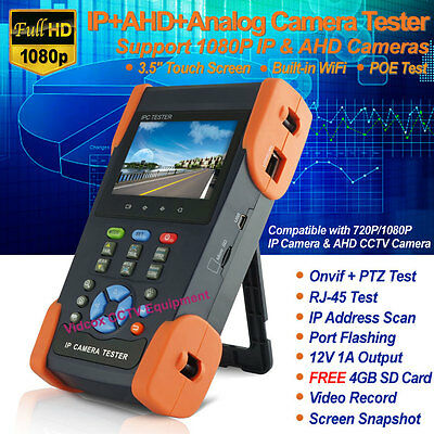 "3.5"" Touch Screen WiFi IP +AHD +Analog Tester HD 1080P Onvif POE PTZ CCTV Camera"