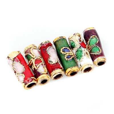 250x 110764 Colorful Flower Tube Enamel Cloisonne Beads Fit Jewelry Making