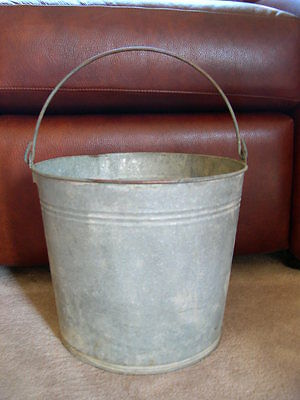 Antique Galvanized Handled Pail Or Bucket #14