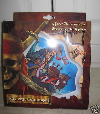 DISNEY Dishes Pirates Caribbean Dinner Lunch Set 5 Peaces Wareof The New in Box
