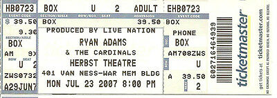 July 23 2007 Ryan Adams San Francisco Herbst Theatre Unused Ticket Stub