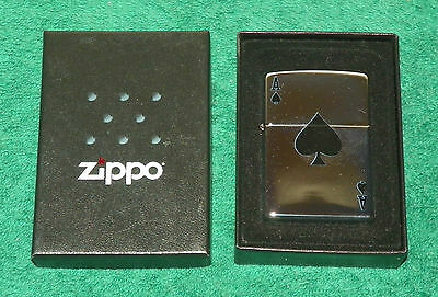 "Zippo - Chrome Ace of Spades ""Windproof"" - New in Box"