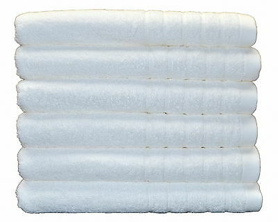 6 x Pure Cotton Bath Towels Value Pack 600gsm Spa Quality Natural White
