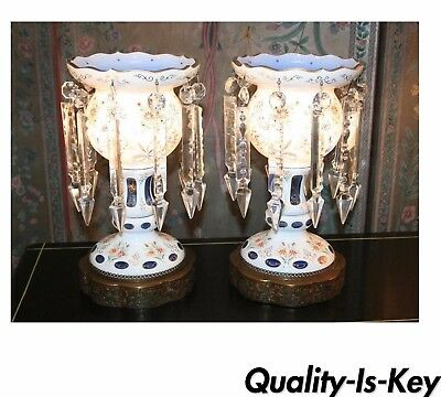 Antique Pair of Bohemian Cased Blue Glass & Crystal Lustre Table Lamps Mantel
