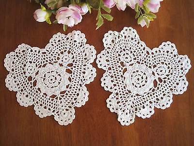 TWO Chic Hand Crochet Heart Shape Cotton Doily White 6""