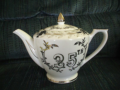 Lefton China Hand Painted Pitcher 25th Anniversary White with Silver Floral