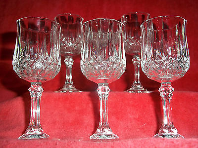 J.g. Durand D'arques France Cut Crystal 6 Wine Cordials Longchamp Pattern 5""