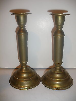 """Pair of Antique 19thc Early Brass Candlesticks  6 1/2"""" tall"""