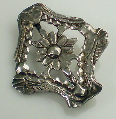 Estate Vintage Sterling Silver Flower Fishes Heavy Carved C Clasp Pin Brooch