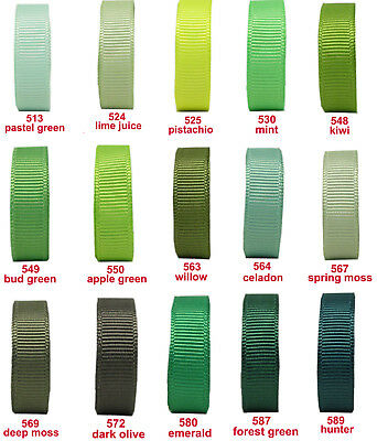"10y 25y 50y 16mm 5/8"" Green Moss Emerald Premium  Grosgrain Ribbon Eco Craft"