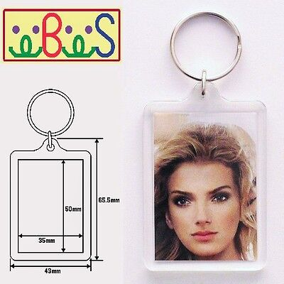 2x Blank Clear Acrylic Keyrings 50x35mm Photo Size (key ring plastic) 92033