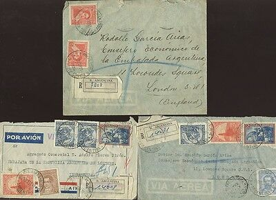 ARGENTINA 1937 REGIST.DIPLOMATIC MIN.AGRICULTURE MULTI FRANKINGS to GB..3 COVERS
