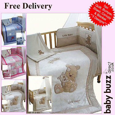 5 pcs Snuggle Baby, Baby Cot Quilt and Bumper Set - 3 designs available