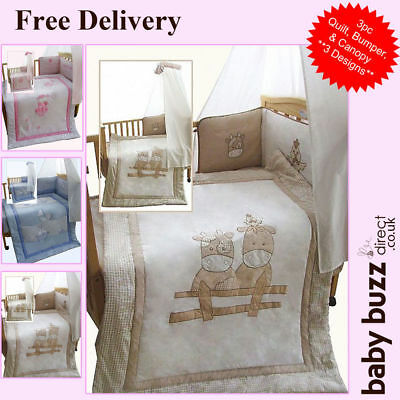 3 pcs Snuggle Baby, Baby Cot Quilt and Bumper Set - 3 designs available