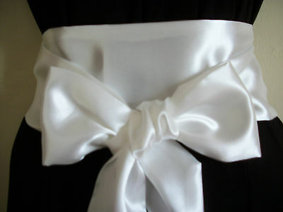 "3.5x60"" WHITE SATIN FABRIC SASH BELT SELF TIE BOW PARTY BRIDESMAID PROM DRESS"