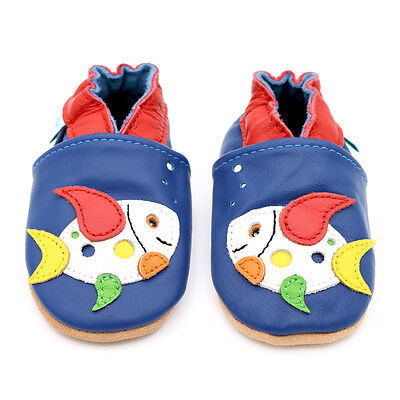 Dotty Fish Soft Leather Baby Shoes - Multicoloured Fish - 0-6 Months - 4-5 Years