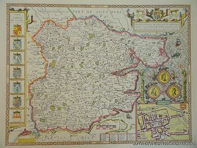 Old Copy Of John Speed Map Of Essex Suffolk Colchester Town Plan 1610