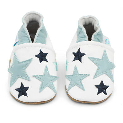 Dotty Fish Soft Leather Baby & Toddler Shoes - Blue Stars - Newborn - 3-4 Years
