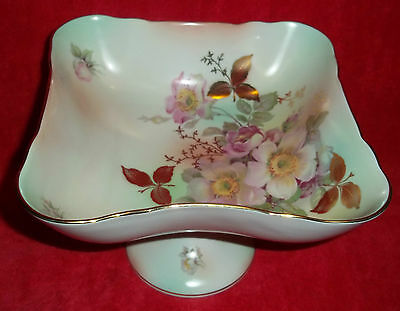 Antique Large Schumann Arzberg Germany Wild Rose Square Compote Serving Bowl