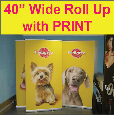 """LOT OF 2 - Pop Up Retractable 40"""" WIDE Trade Show Banner Stands + FREE PRINTING"""