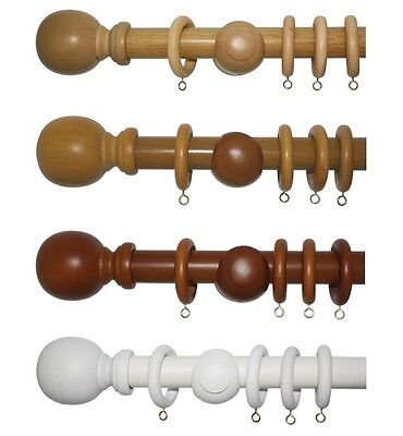 28mm Wooden Curtain Pole Sets - Ball Finials - 4 Colours - 5 Sizes - Real Wood