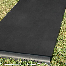 New Solid Black Durable Rayon Wedding Aisle Runner 100 ft & Pull Cord & Adhesive