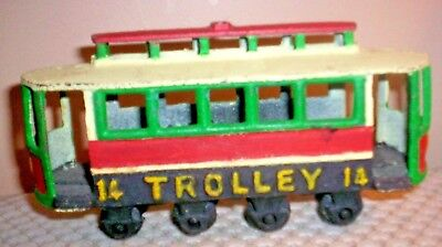 VINTAGE CAST IRON TROLLEY 14 ~ PAINTED RED, GREEN, YELLOW, BLACK~WHEELS TURN