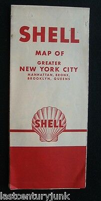 Shel Oil Co.l Road Map  Of Greater New York (4 Boro's) 1950's