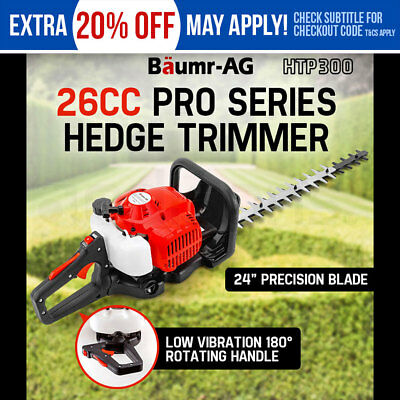 "New Baumr-AG 26CC Petrol Hedge Trimmer 2-Stroke Clipper Saw Precision 24"" Blade"