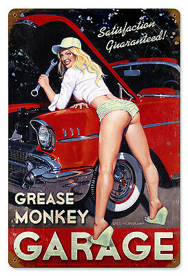 GREASE MONKEY Garage Pinup Greg Hildebrandt GIANT Vintage Metal Sign FREE PRINT
