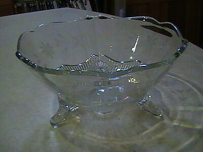 """Lancaster Glass Company 3 Footed Floral Etched Clear Bowl 8"""""""