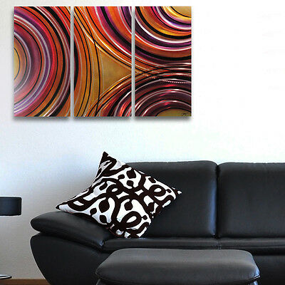 Modern Abstract Metal Wall Art Orange Gold Contemporary Painting Sculpture Decor