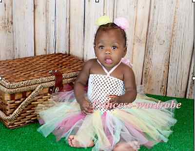 Baby HANDMADE Rainbow Color Knotted Tulle Tutu White Crochet Tube Top SET NB-24M