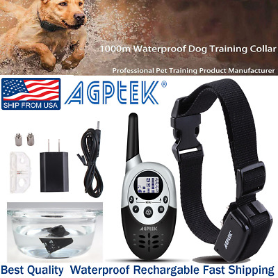 Rechargeable 1000 Yard 2 Dog Shock Training Collar Pet Trainer w/ Remote 4 Modes