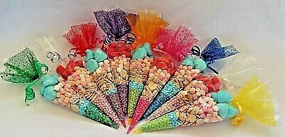 Cone Cello Party, Favor  Sweet Candy Gift Empty Bags 37 x 18cm & Silver Ties